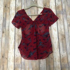 Poetry sheer bird print blouse   L